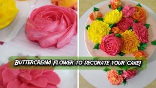 How to make Buttercream Flowers at home! | Edible Flower making ideas | Cake Decoration | Rasoisaga
