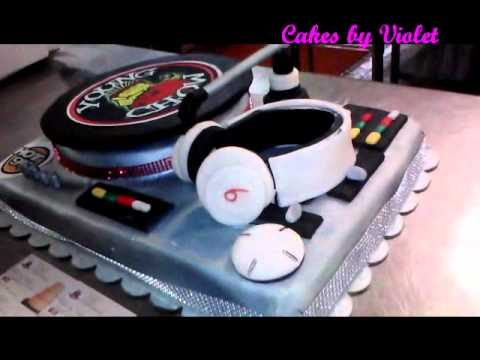 DJ Turntable Cake w Record that Spins YouTube