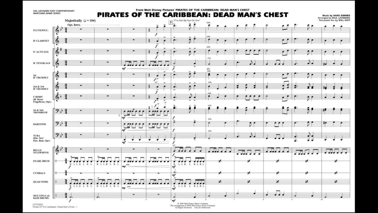 Pirates of the Caribbean - Dead Man's Chest by Hans Zimmer/arr  Paul  Lavender