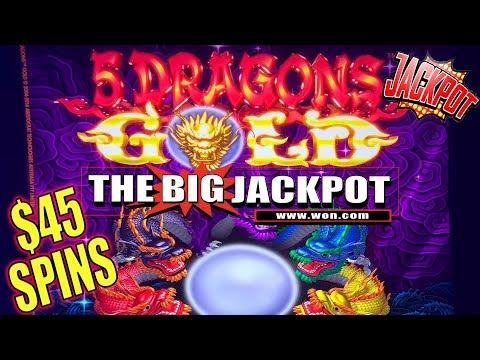 5 DRAGONS GOLD! 🐲BONUS ROUND JACKPOT! $45 SPINS! 💸