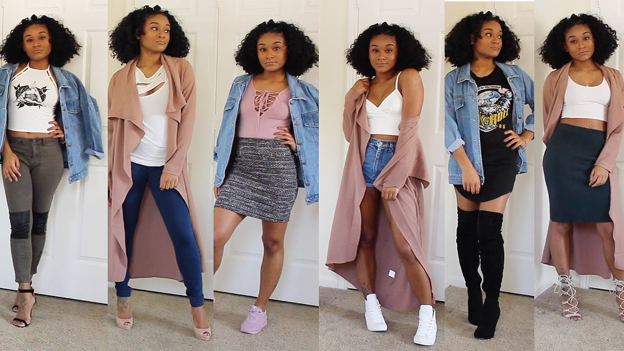 SHEIN LOOKBOOK - cute outfits with jean jackets & dusters - YouTube