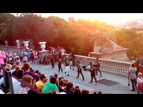 Beautiful Street show in front of Palace De Catalunya, Barcelona