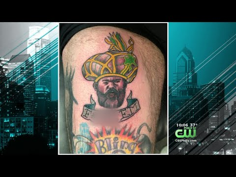 5d343bc3 Eagles Fan Gets Tattoo Of Jason Kelce In Mummers Outfit