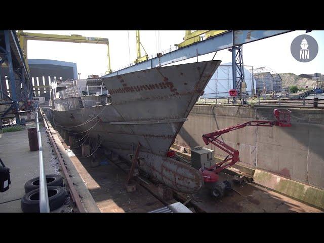 Patrouilleur outre-mer (POM) de la Marine Nationale en construction au chantier Socarenam Saint-Malo