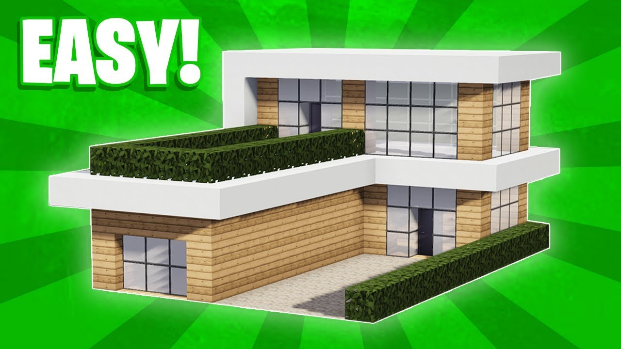 Minecraft How To Build A Small Modern House Tutorial 10 Youtube