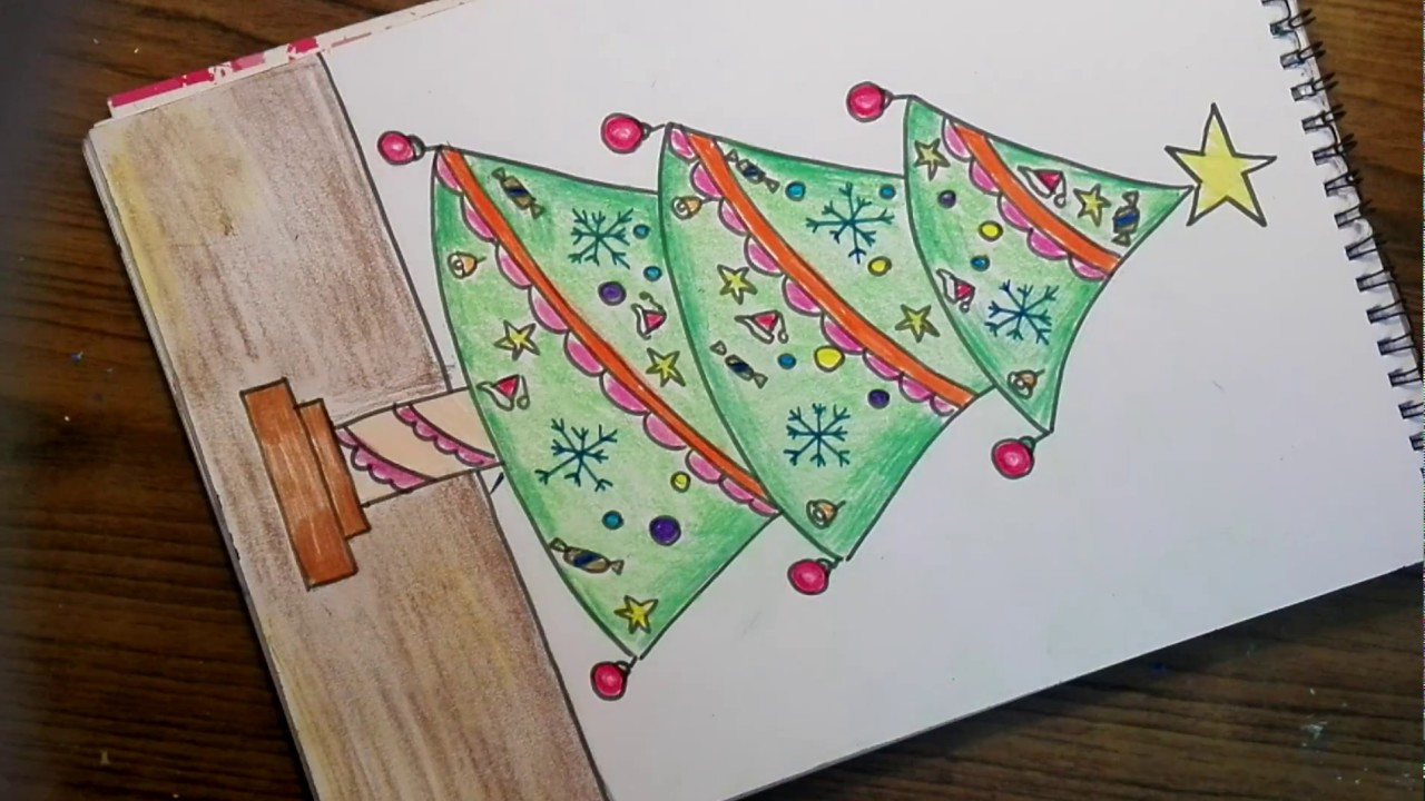 How To Draw Christmas Tree Easy Way Christmas Tree Drawing 1 Youtube