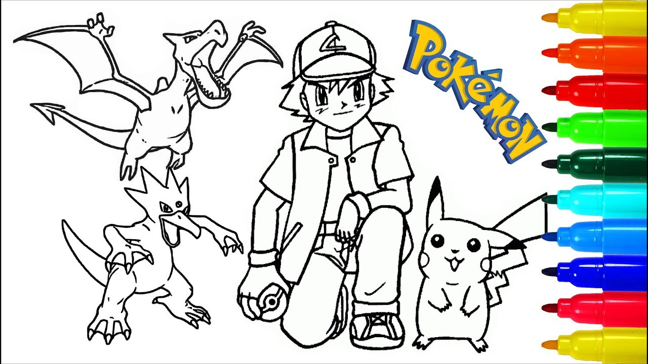 Pokemon Coloring Pages 3 Colouring Pages For Kids With Colored Markers Youtube