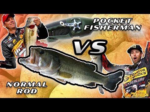 Ronco Pocket Fisherman Vs Normal Rod Challenge - Insane Amount Of Bass!