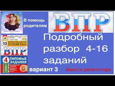 ВПР по русскому языку 4 класс. Полный разбор 4-16 заданий.  Вариант 3.
