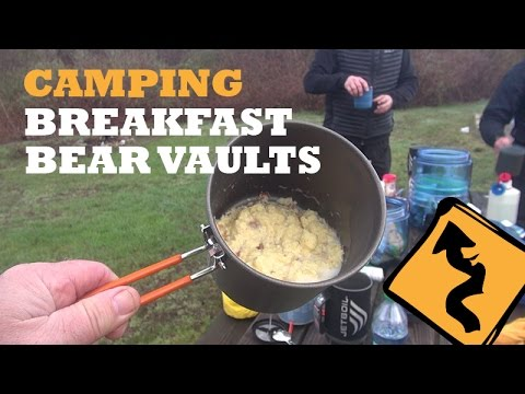 Spring Time Motorcycle Camping, Breakfast And Bear Vaults