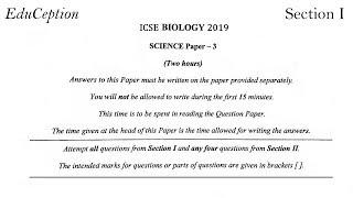 ICSE 2019 Biology Solved Question Paper