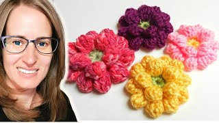 Repeat youtube video Crochet Flower Tutorial - www.myhobbyiscrochet.com