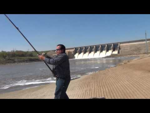 Paddle fishing, Arkansas River just below Kaw lake