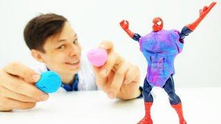 Доктор Ой создает суперброню для Человека Паука! Игры для мальчиков
