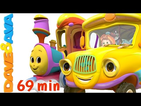 🚐 Wheels on the Bus and Vehicle Songs | Buses, Trains Plus Lots More Nursery Rhymes by Dave and Ava