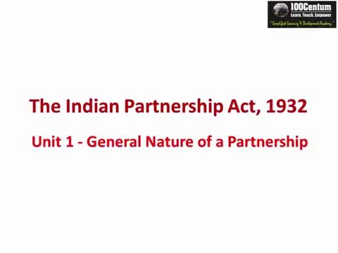 Indian Partnership Act 1932 - Part 1 - General Nature of Partnership for CA-CPT (in Hindi)