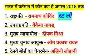 रट लो - वर्तमान में कौन क्या  है ? अगस्त 2018 तक | Kaun kya hai india 2018 | Current Affairs