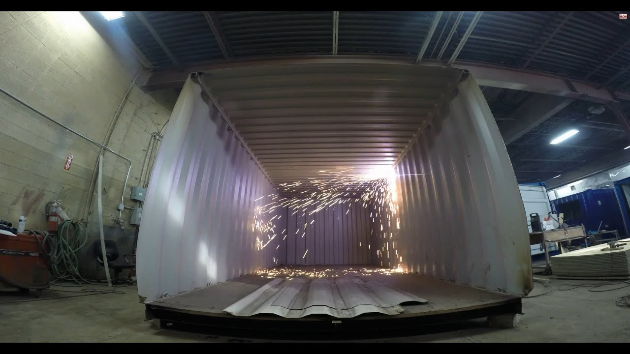 How to cut a shipping container in half time lapse youtube - Shipping container end welding ...