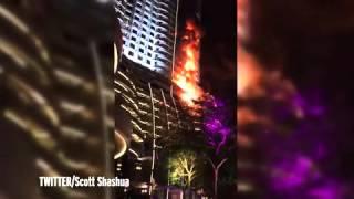 Dubai hotel fire  Watch debris crash to the ground as blaze rips through The Address Downtown   Mirr