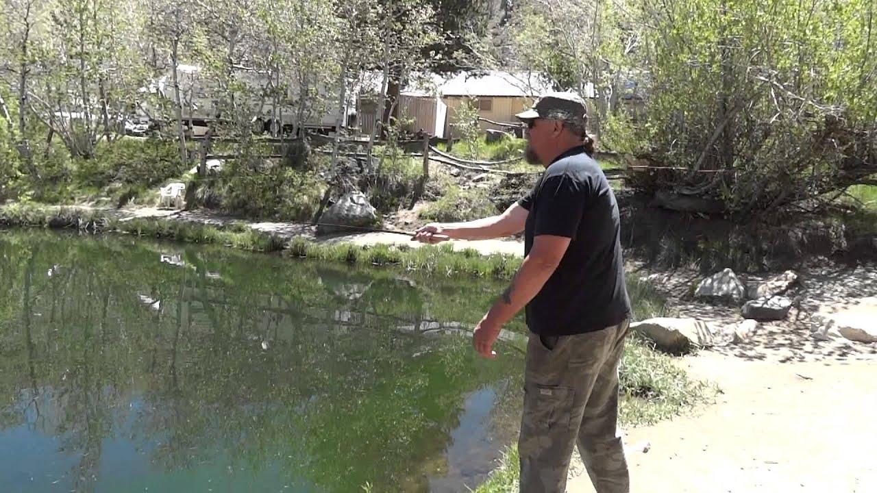 Tenkara fly fishing in ron 39 s pond on bishop creek youtube for Bishop creek fishing