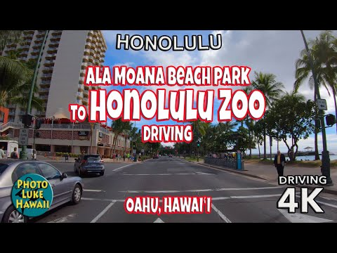 Ala Moana Beach Park to Honolulu Zoo Driving Oahu Hawaii