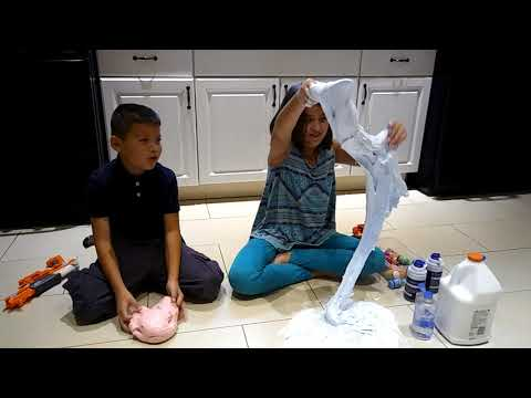 Making fluffy slime on the floor
