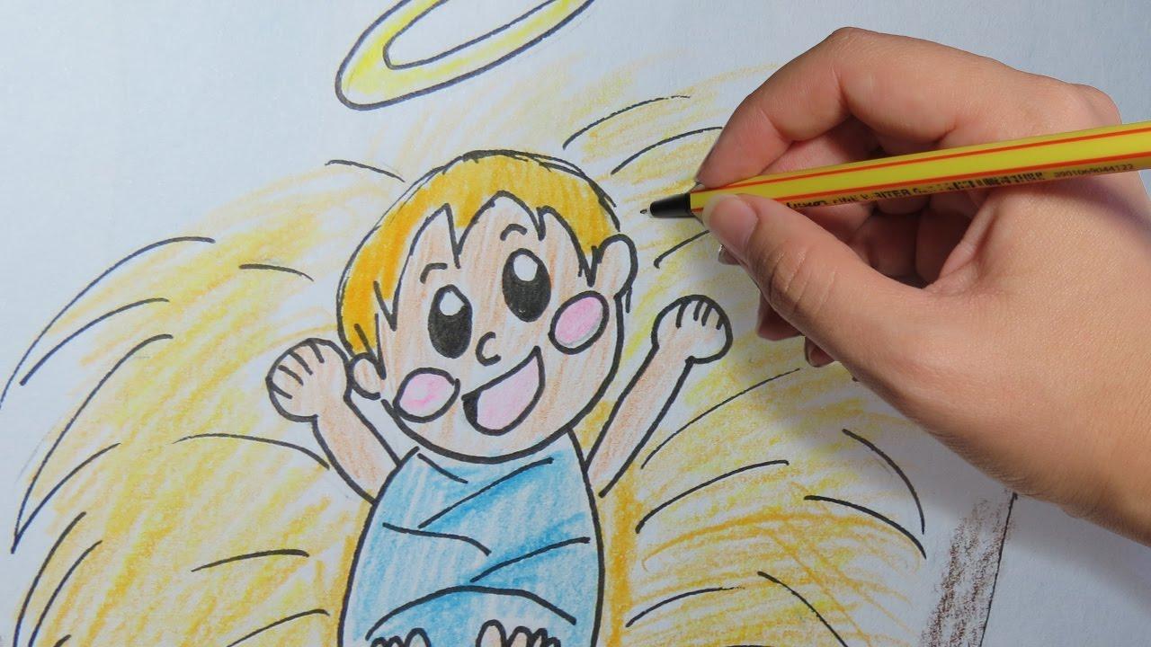 Como Dibujar Al Niño Jesus En El Pesebre Paso A Paso Dibujos De Navidad Faciles Para Niños A Color