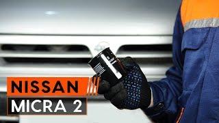 Hoe een oliefilter en motorolie vervangen op een NISSAN MICRA 2 Hatchback [HANDLEIDING AUTODOC]