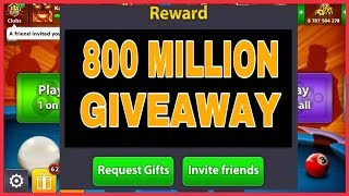 Free Reward 800 Million Coins 8 Ball Pool Must Watch Full Video