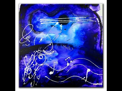 ABSTRACT PAINTING - MUSIC NOTES, Guitar, ACRYLIC PAINT, WATER BY DRANITSIN