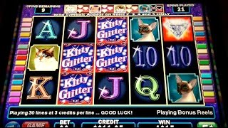 Kitty Glitter BIG WIN! Slot Machine BONUS Retrigger!!