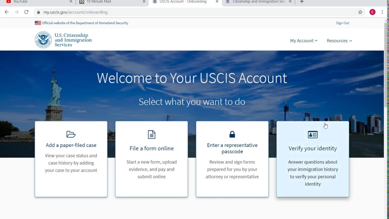 How to create an USCIS online account - YouTube