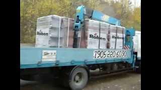 #Ладожское Озеро - остановка, Японский манипулятор везет груз: 5 тонн (керамочерепица).(, 2015-01-11T23:59:49.000Z)