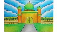 Cara Menggambar Dan Mewarnai Masjid Sederhana Untuk Anak Tk