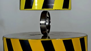 HYDRAULIC PRESS AGAINST THE STRONGEST RING, TUNGSTEN CARBIDE