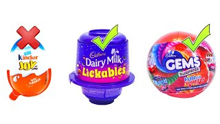 Kinder Joy vs Cadbury Dairy Milk Lickables vs Cadbury Gems Suprise Ball