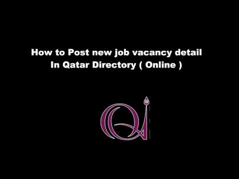 How to post a new Job Vacancy detail in Qatar Directory ( On