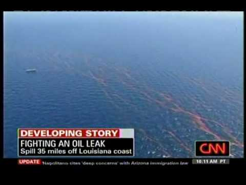 Deepwater Horizon - April 25, 2010 CNN - Footage from Space