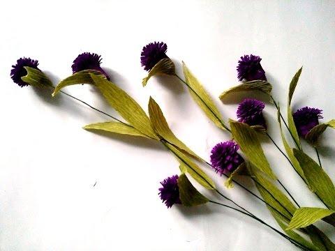 D.I.Y - How to make paper flower - daisy buttons- Làm hoa cúc áo bằng giấy nhún