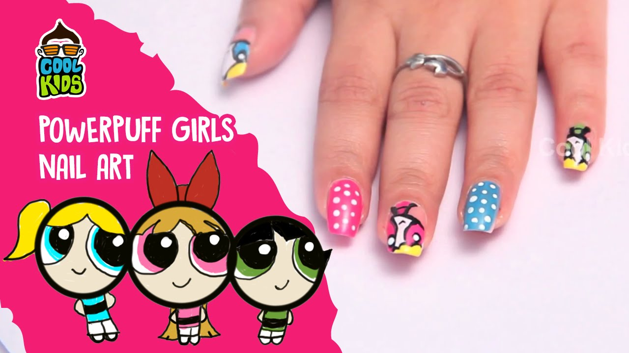 How to make The Power Puff Girls Nail Art | Nail art Tutorials ...