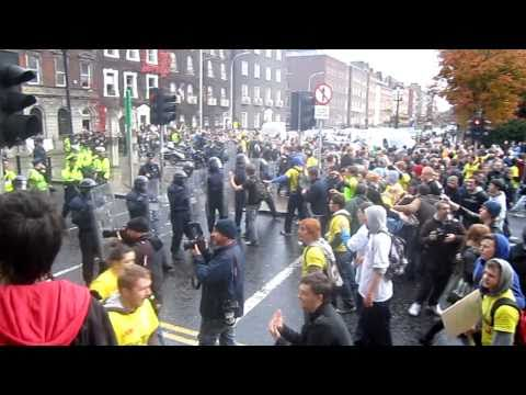 Dublin Student Protests - Riot Police charge