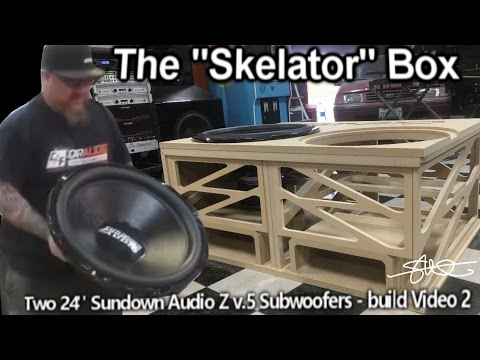 "The ""Skelator"" Box - Two Gigantic 24"" Sundown Subwoofers - Huge Ported Enclosure Build video 2"