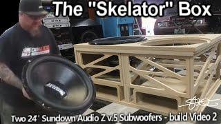 "The ""Skelator"" Box - Two Gigantic 24"" Sundown Subwoofers - Huge Ported Enclosure Build video 2"
