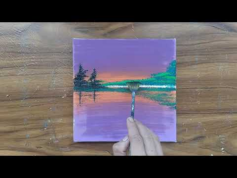 Acrylic On Canvas / Easy acrylic painting for Beginners / painting tutorial/ painting ASMR