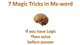 7 Magic trick in Ms word