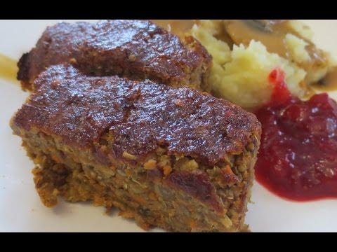 Low Fat Vegan No Oil Thanksgiving Lentil-Mushroom Loaf