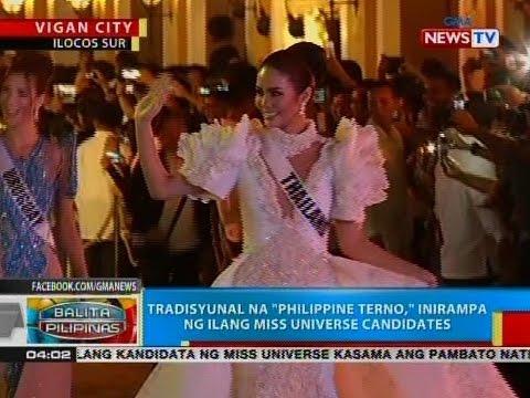 """Tradisyunal na """"Philippine Terno"""", inirampa ng ilang Miss Universe candidates"""