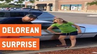 Little Girl Surprised with DeLorean DMC-12