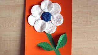 Белый цветок. Аппликация из цветной бумаги. Подарок маме на день рождения. Поделки своими руками.(В этом видео показано, как сделать поделку на день рождения или 8 марта из цветной бумаги, пластилина и ватны..., 2016-02-16T05:53:44.000Z)