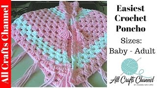 Repeat youtube video Easiest Crochet Poncho - Baby to Adult sizes - Yolanda Soto Lopez